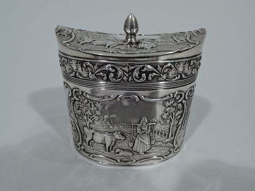 Antique Dutch Silver Sweet Pastoral Tea Caddy 1927