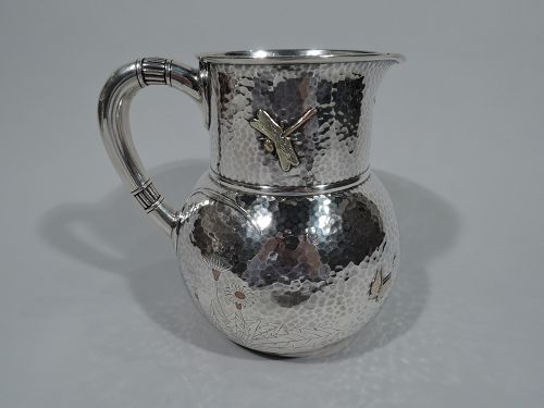 Rare Tiffany Mixed Metal Hand Hammered Water Pitcher with Dragonfly