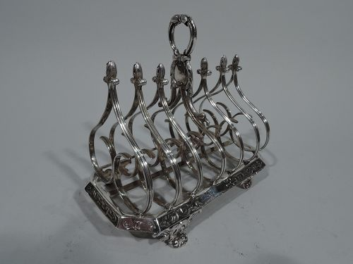 Antique English Regency Gothick Sterling Silver Toast Rack by Fox 1835