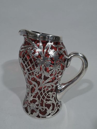 Antique Alvin Art Nouveau Red Glass & Silver Overlay Water Pitcher