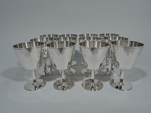 Set of 12 Tiffany Sterling Silver Art Deco Modern Cocktail Cups