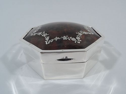 Antique English Edwardian Regency Sterling Silver Jewelry Box