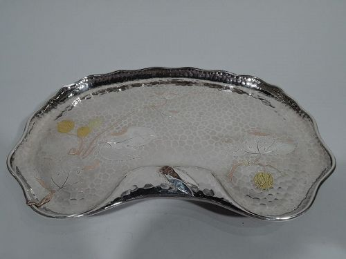 Tiffany Japonesque Mixed Metal and Hand-Hammered Sterling Silver Tray