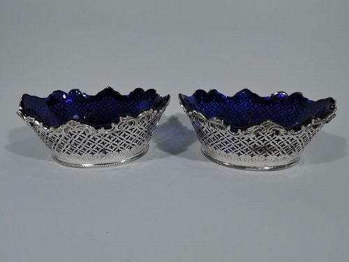 Pair of Antique English Georgian Sterling Silver Basket Bowls