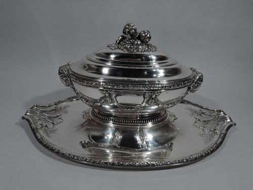Large Antique French Belle Epoque Classical Silver Tureen on Stand