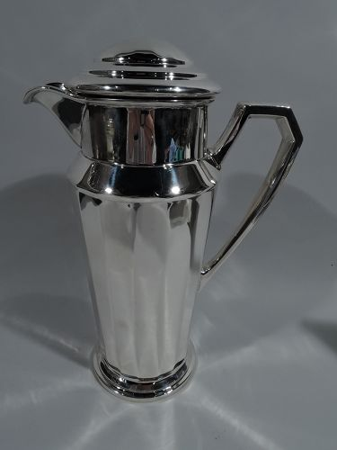American Art Deco Sterling Silver Cocktail Shaker by Frank W. Smith