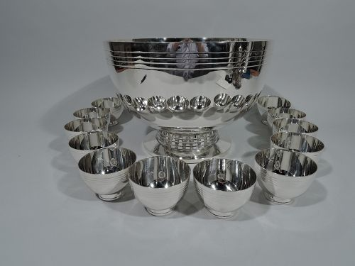 Exciting Tiffany Midcentury Modern Sterling Silver Punch Bowl & Cups