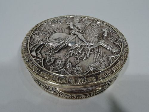 Antique German Silver Gilt Trinket Box with Teutonic Knight
