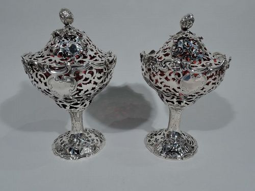 Pair of English Sterling Silver & Red Glass Strawberry Jam Compotes
