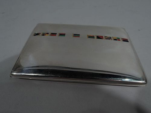American Sterling Silver Cigarette Case with Enamel Nautical Flags
