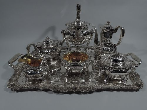 Antique Tiffany Chrysanthemum Sterling Silver Coffee & Tea Set on Tray