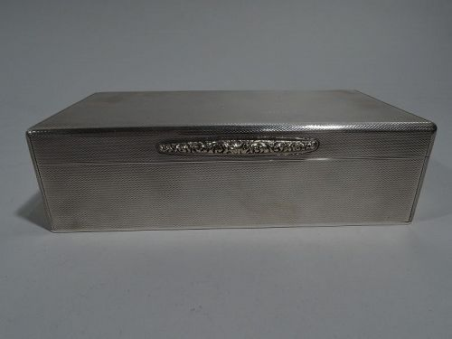 Striking English Art Deco Modern Sterling Silver Box