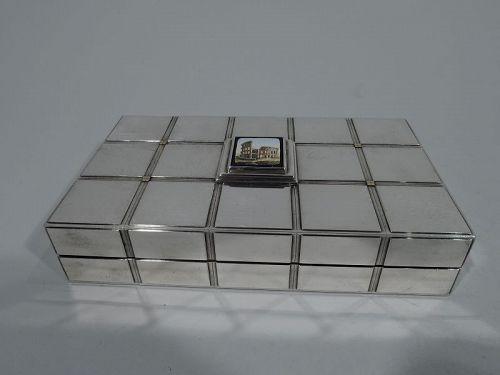 Bulgari Stylish Sterling Silver Box with Grand Tour Micro Mosaic