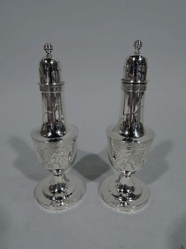 Pair of Tiffany Aesthetic Sterling Silver Salt & Pepper Shakers