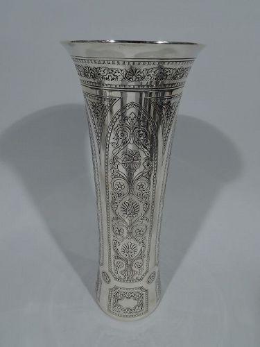 Stylish Tiffany Modern Classical Sterling Silver Vase