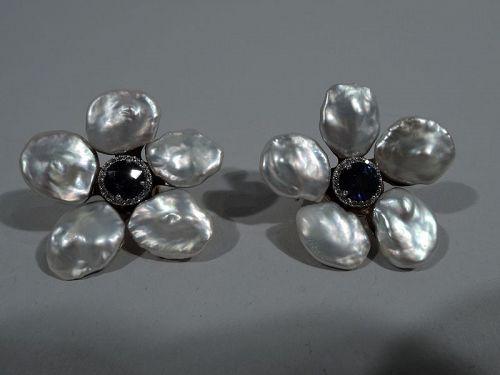 Pair of Seaman Schepps Pearl & Sapphire Biwa Flower Earrings