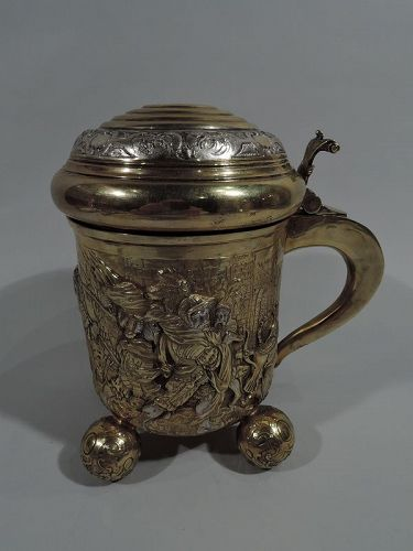 Antique German Gothic Silver Gilt Tankard with Teutonic Frieze