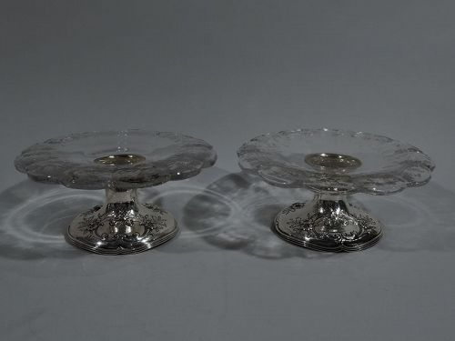 Pair of Antique Gorham Edwardian Sterling Silver & Crystal Compotes