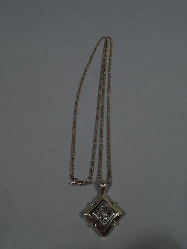 Lovely 18k Gold and Diamond Pendant with Chain