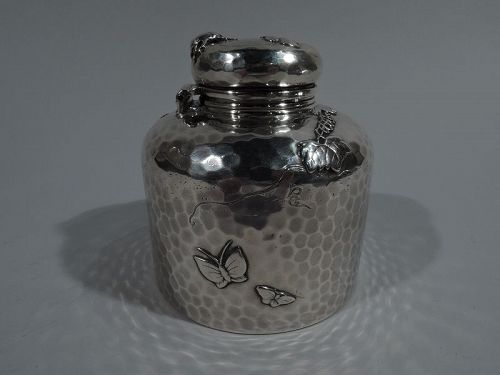Large Tiffany Japonesque Applied Sterling Silver Inkwell with Beetle