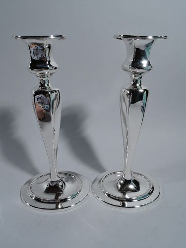 Pair of Antique Tiffany Sterling Silver Candlesticks