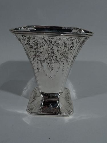 Antique Pretty French Rococo Sterling Silver Vase by Tiffany