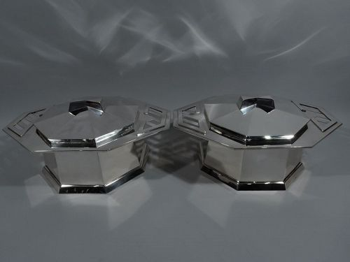 Pair of Tiffany Sterling Silver Covered Tureens by Frank Lloyd Wright