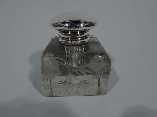 Art Nouveau Glass and Sterling Silver Inkwell by Black, Starr & Frost