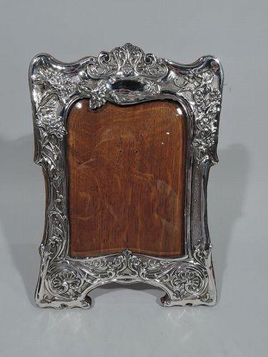 Antique English Art Nouveau Sterling Silver Picture Frame