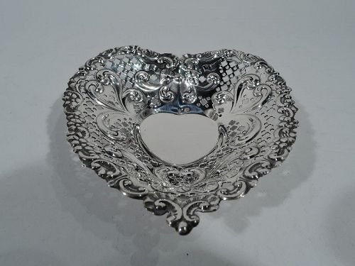 Old Fashioned and Romantic Sterling Silver Heart Dish Bowl by Gorham