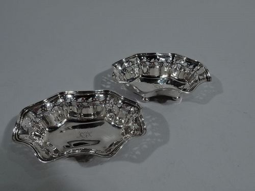 Pair of Antique Tiffany Edwardian Pierced Sterling Silver Nut Dishes