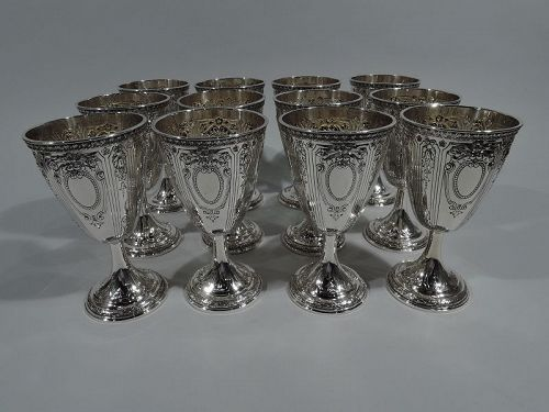 Set of 12 Antique Gorham Sterling Silver Goblets in Maintenon Pattern