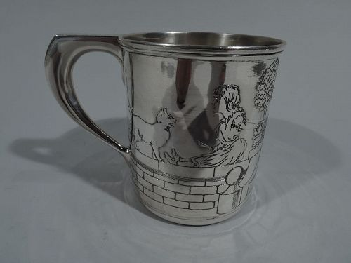 Antique Tiffany Art Deco Sterling Silver Pictorial Baby Cup