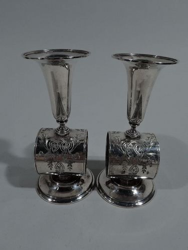 Pair of New York Aesthetic Sterling Silver Napkin Rings with Bud Vase