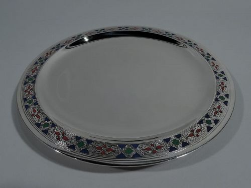 Tiffany Modern Gothic Sterling Silver and Enamel Serving Plate