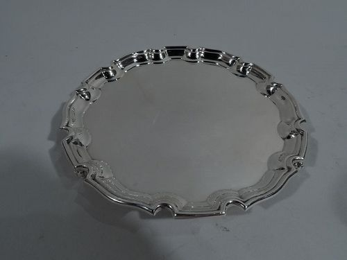Antique English Georgian Sterling Silver Piecrust Salver Tray