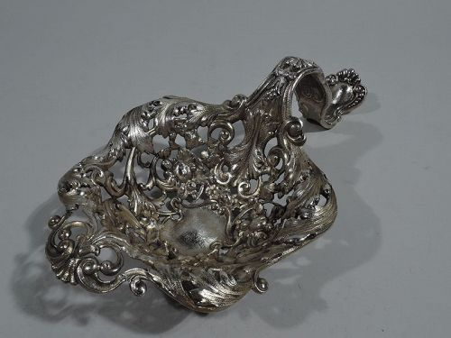 Antique Gorham Sterling Silver Strapwork and Flowers Bonbon Scoop