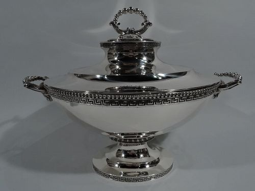 Very Fine Early Tiffany Greek Revival Sterling Silver Soup Tureen
