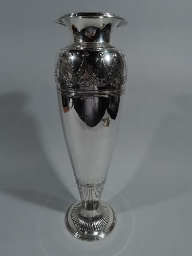 Tall Tiffany Art Deco Classical Sterling Silver Vase