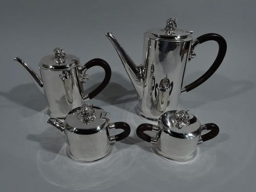 Spratling Sterling Silver Coffee & Tea Set with Jaguar Finials 1940s
