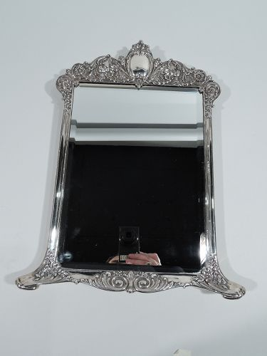 Antique Tiffany Rococo Revival Sterling Silver Vanity Mirror