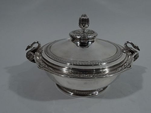 Antique French Art Nouveau Empire Silver Covered Vegetable Dish