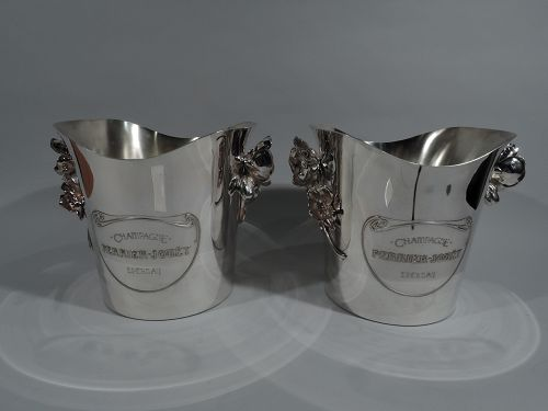 Pair of Christofle French Art Nouveau Champagne Buckets in Boxes