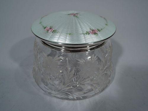 Large & Pretty Antique Sterling Silver, Crystal & Enamel Vanity Jar