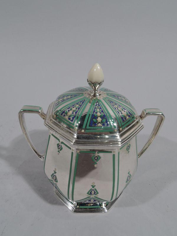 Tiffany Art Deco Enamel & Sterling Silver Coffee Set on Tray