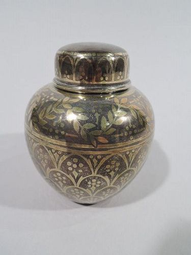 Antique Tiffany Exotic Sterling Silver Tea Caddy with Gold Inlay