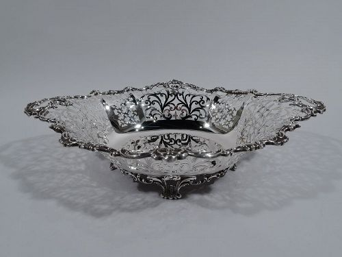 Antique JE Caldwell Edwardian Pierced Sterling Silver Bowl