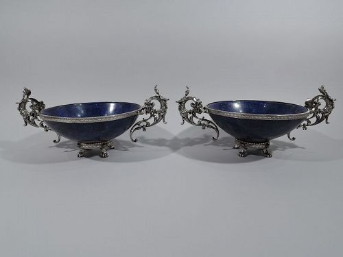 Pair of Puiforcat Egyptian Revival Silver and Lapis Lazuli Bowls