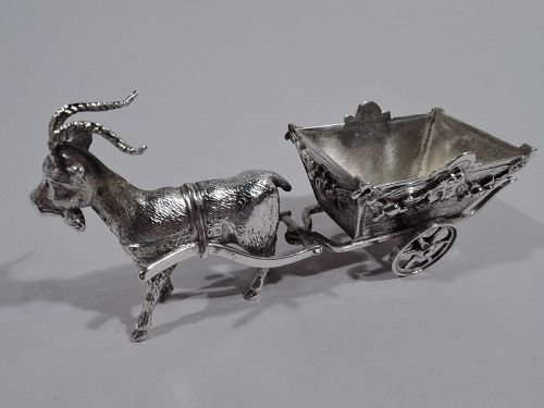 Antique German Silver Miniature Goat-Harnessed Country Cart