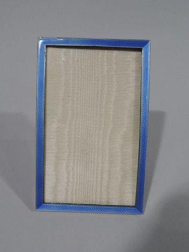 English Art Deco Modern Sterling Silver & Enamel Picture Frame 1928